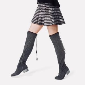 Black Over-The-Knee Tassel Stretchy Boots